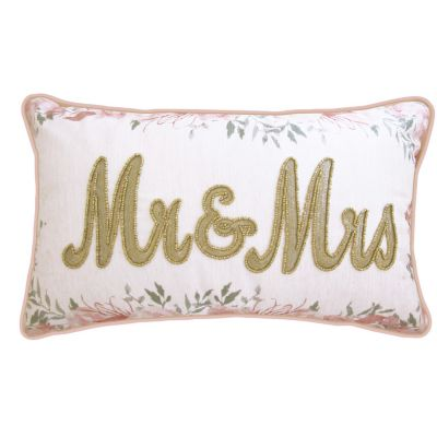 """Celebrations Pillow Beaded """"Mr & Mrs"""" On Floral Print with Double Flange"""