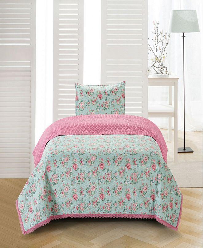 Tadpoles Olivia Crochet Trimmed Floral 2 Piece Quilt Set