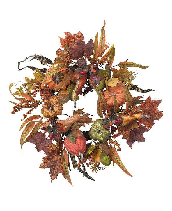 "Nearly Natural 24"" Pumpkin and Berry Wreath"