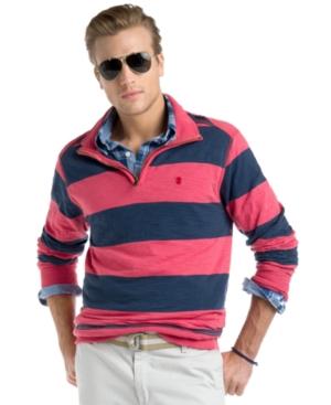 Izod Shirt, Quarter Zip Striped Pullover