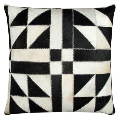 "20"" x 20"" Geometric Pattern Sewn in Genuine Fur Pillow Cover"