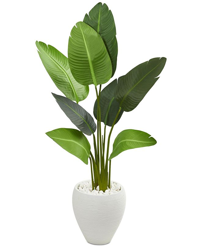 Nearly Natural 4' Travelers Palm Artificial Tree in Oval Planter