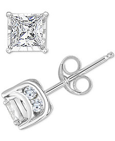 TruMiracle™ Diamond Princess Stud Earrings (3/4 ct. t.w.) in 14k White Gold, Gold or Rose Gold