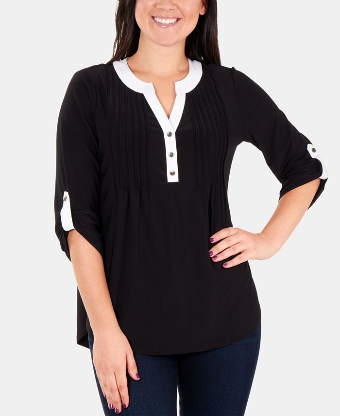 NY Collection - Petite Colorblocked Pleated Top