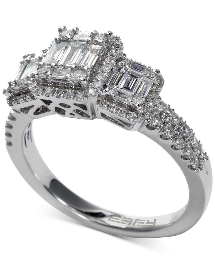 EFFY Collection - Diamond Baguette Cluster Engagement Ring (3/4 ct. t.w.) in 14k White Gold