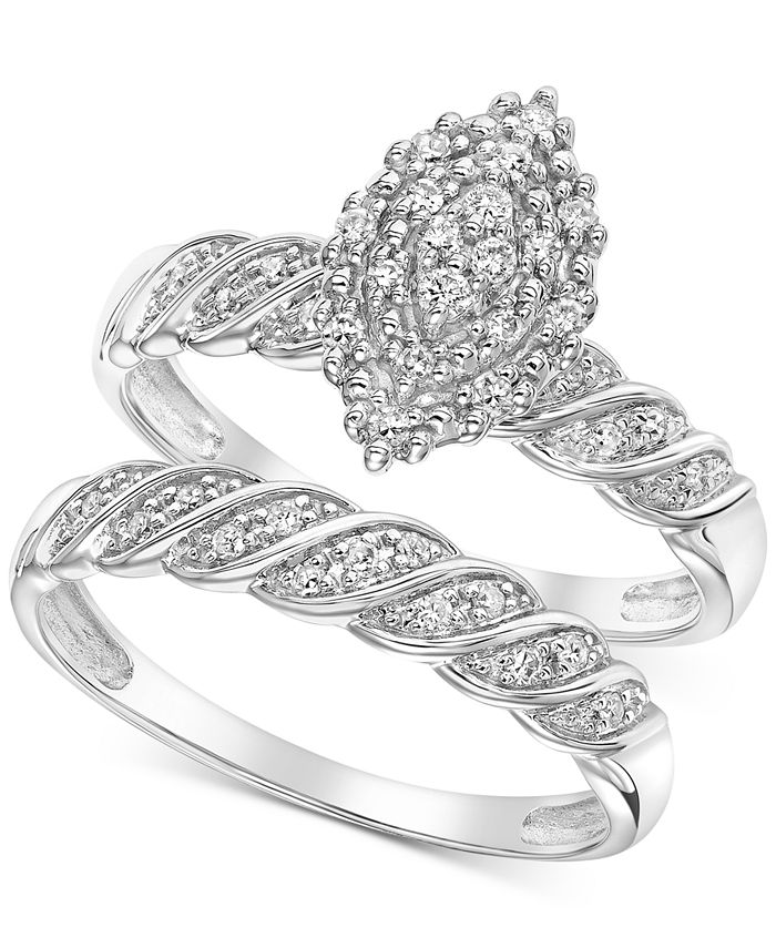 Macy's - Diamond Marquise Cluster Twist Bridal Set (1/4 ct. t.w.) in 14k White Gold