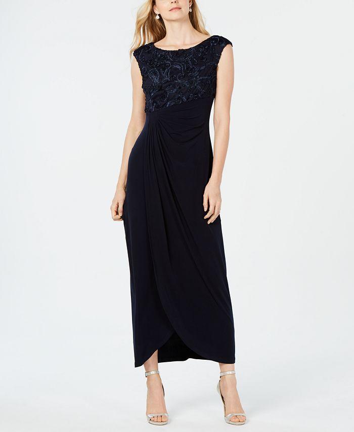 Connected - Soutache Faux-Wrap Gown