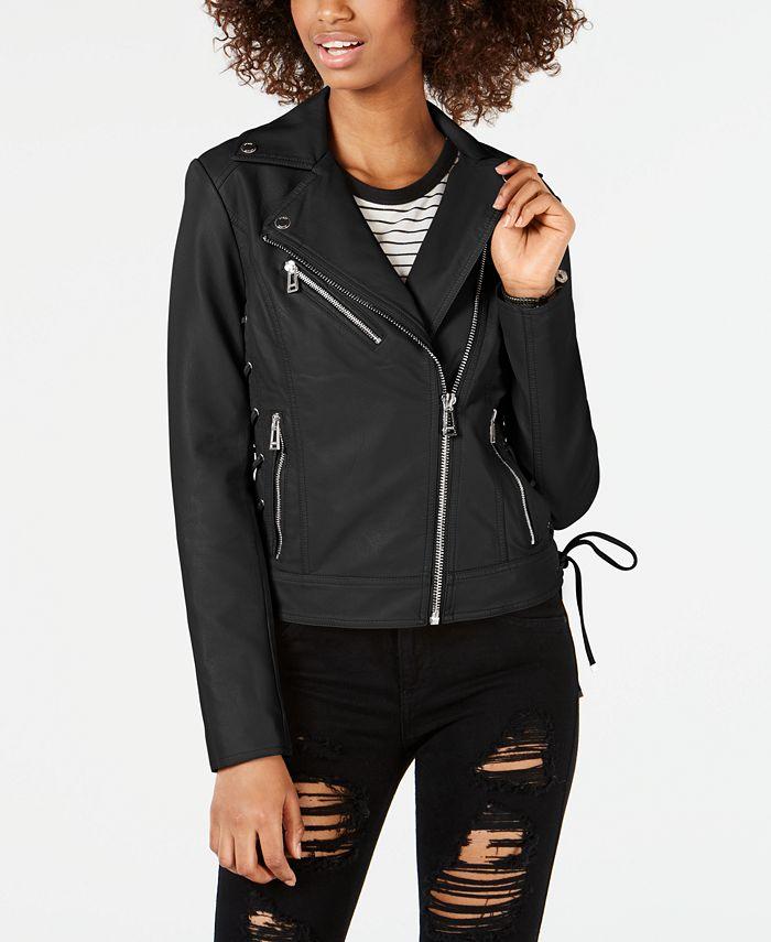 GUESS - Asymmetrical Faux-Leather Moto Jacket