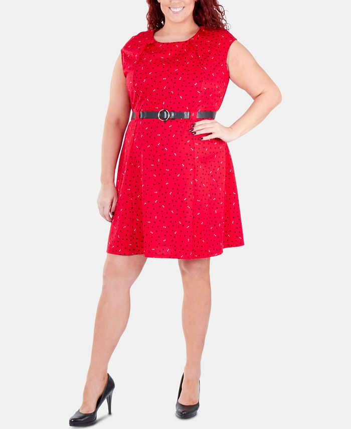 NY Collection - Plus Size Printed Belted Fit & Flare Dress