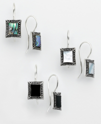 Sterling Silver Abalone, Onyx, Mother of Pearl Earring Set
