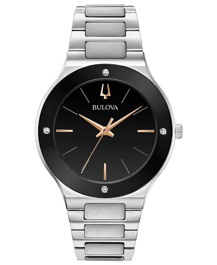 Bulova - Men's Futuro Diamond-Accent Stainless Steel Bracelet Watch 43mm