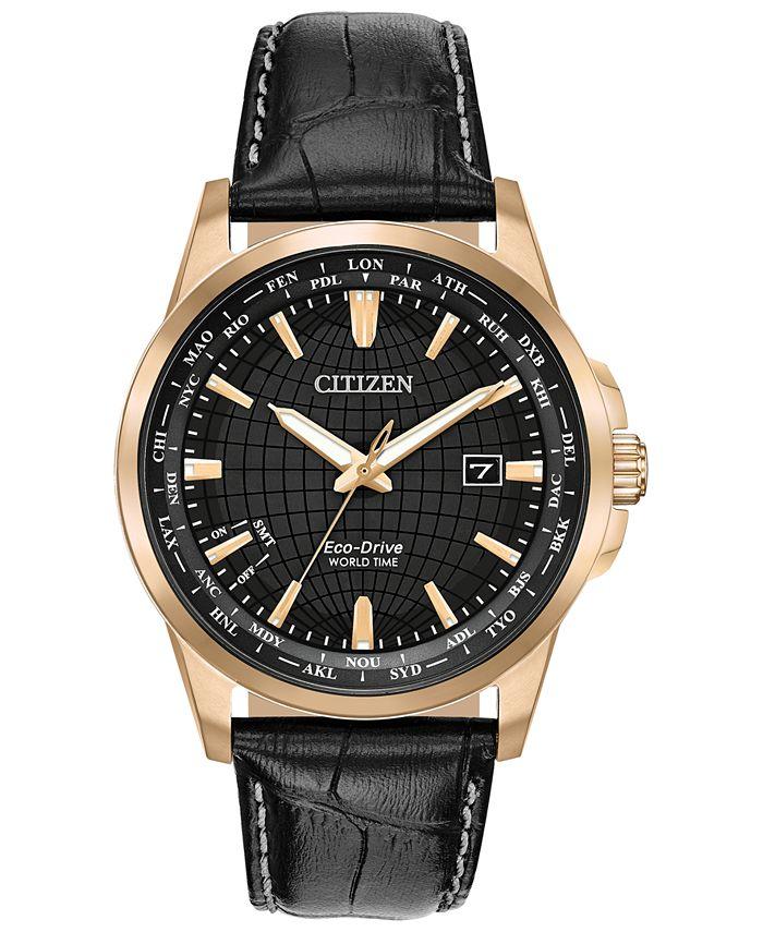 Citizen - Men's World Time Black Leather Strap Watch 41mm