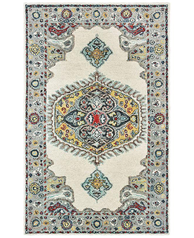 "Oriental Weavers Zahra 75505 Ivory/Grey 3'6"" x 5'6"" Area Rug"