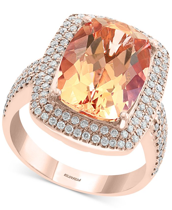 EFFY Collection - Morganite (6-1/3 ct. t.w.) & Diamond (5/8 ct. t.w.) Statement Ring in 14k Rose Gold