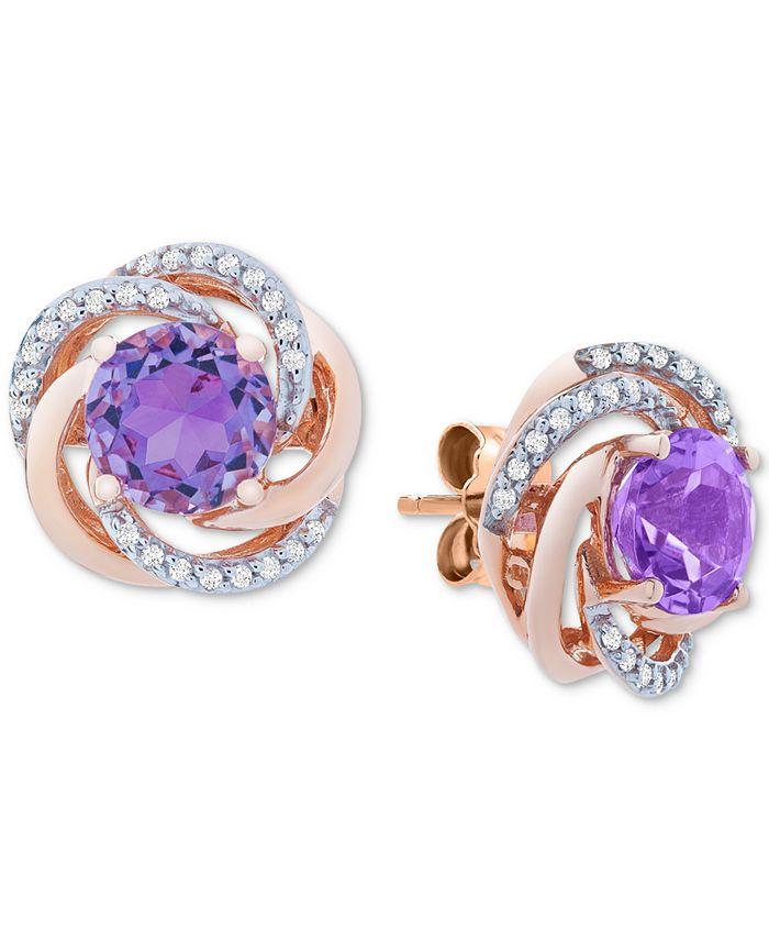 Macy's - Amethyst (1-1/2 ct. t.w.) & Diamond (1/10 ct. t.w.) Stud Earrings in 14k Rose Gold