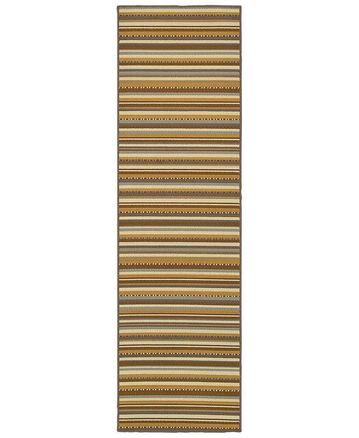 """Oriental Weavers - Bali 1001J Gray/Gold 7'10"""" x 7'10"""" Indoor/Outdoor Runner Area Rug"""