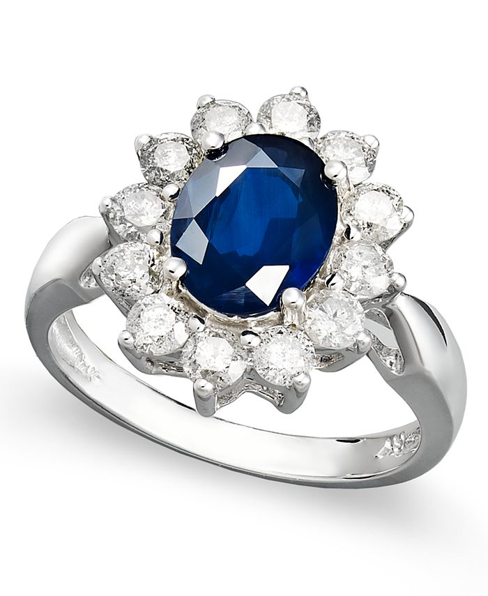 Macy's - 14k White Gold Ring, Sapphire (2-1/5 ct. t.w.) and Diamond (1 ct. t.w.) Oval Ring