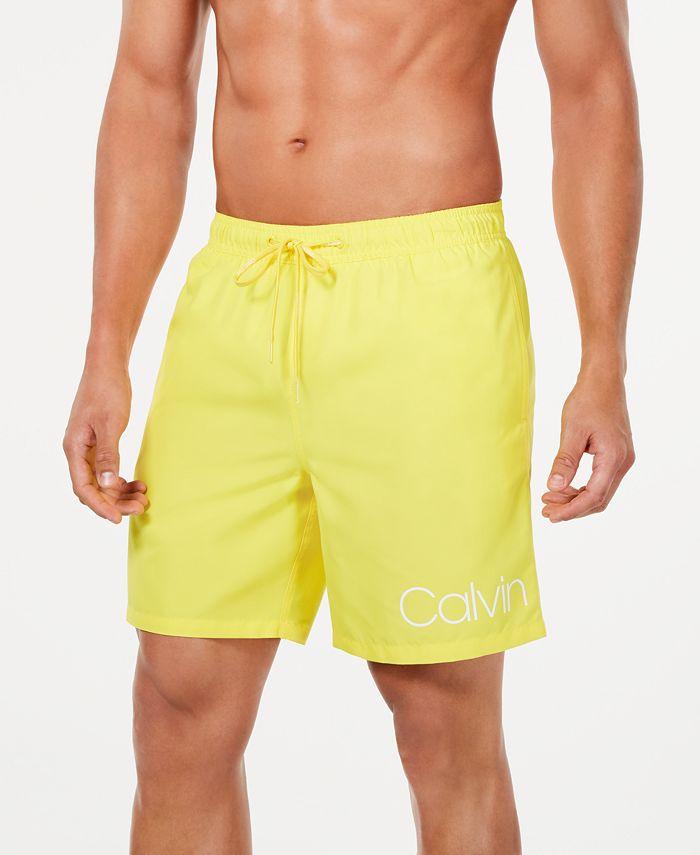 """Calvin Klein - Men's Logo 7"""" Swim Trunks"""
