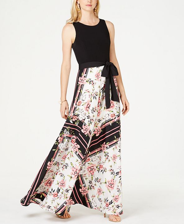 INC International Concepts INC Knit-Top Floral-Skirt Maxi Dress, Created for Macy's