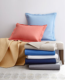 Damask Diamond Quilted Cotton Coverlet and Sham Collection, Created for Macy's