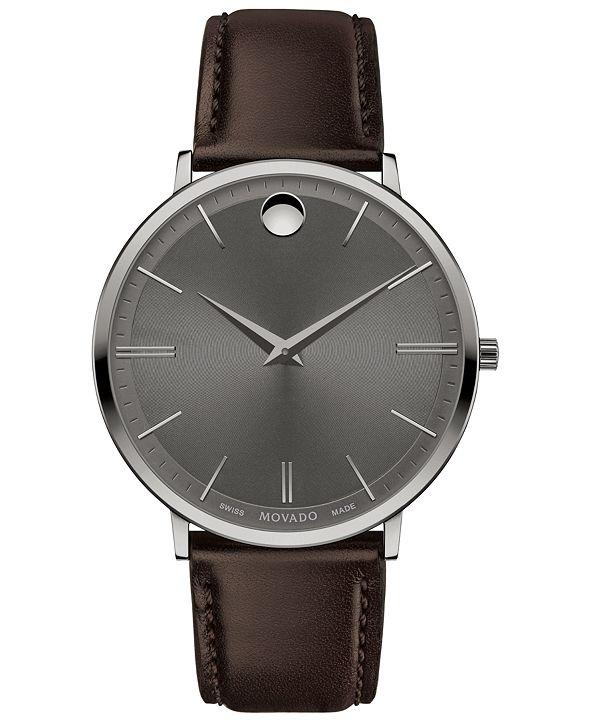 Movado Men's Swiss Ultra Slim Brown Leather Strap Watch 40mm