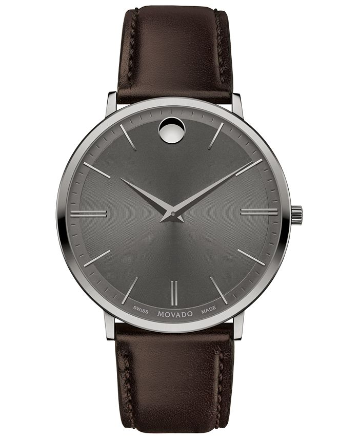 Movado - Men's Swiss Ultra Slim Brown Leather Strap Watch 40mm