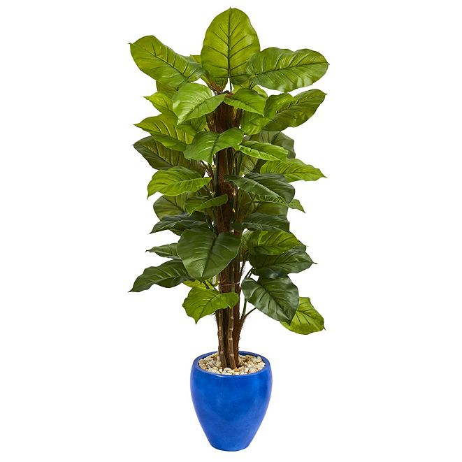 Nearly Natural 5' Large Leaf Philodendron Artificial Plant in Blue Planter - Real Touch