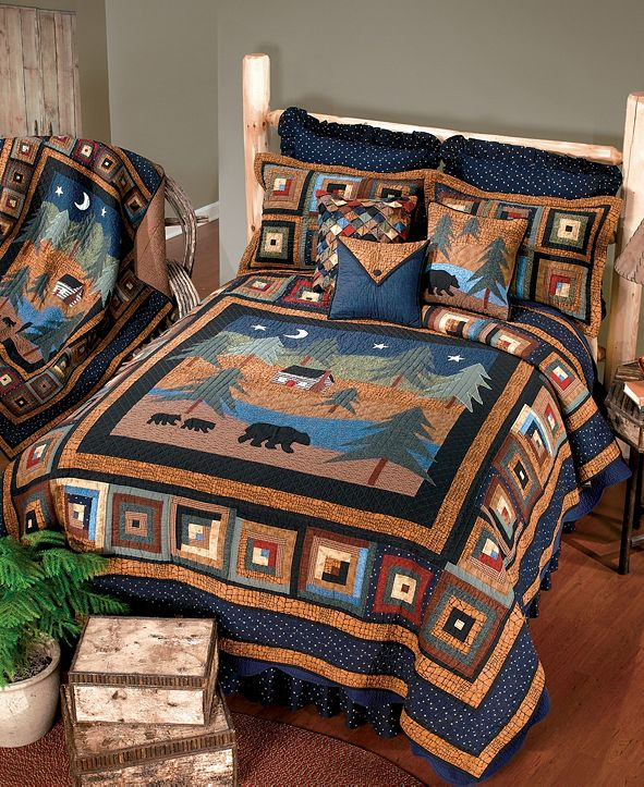 American Heritage Textiles Midnight Bear Cotton Quilt Collection, Twin