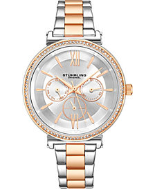 Stuhrling Original Women's 40mm Multi-Function, Rose/Silver Case and Bracelet, Silver Dial With Rose Accents Watch
