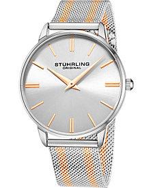 Stuhrling Men's Rose Gold, Silver Tone Mesh Stainless Steel Bracelet Watch 42mm