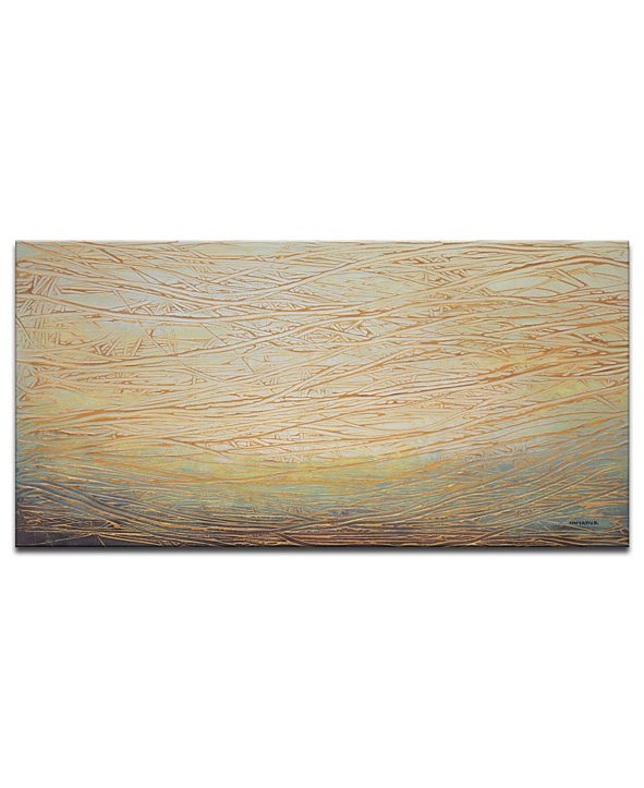 "Ready2HangArt 'Metallic Waves' Abstract Canvas Wall Art - 18"" x 36"""