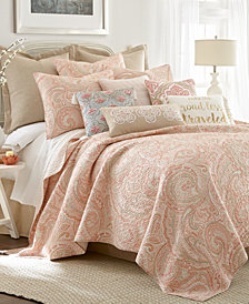 Spruce Coral Paisley Reversible Full/Queen Quilt Set
