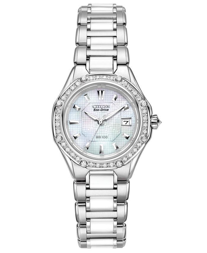 Citizen - Women's Eco-Drive Signature Diamond (3/8 ct. t.w.) Ceramic Stainless Steel Bracelet Watch 29mm EW2190-59D