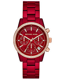 Michael Kors Women's Ritz Red Stainless Steel Bracelet Watch 37mm