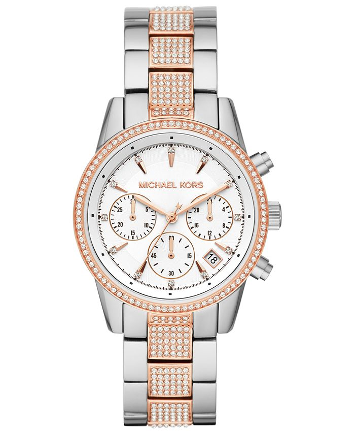 Michael Kors - Women's Ritz Two-Tone Stainless Steel & Crystal-Accent Bracelet Watch 37mm