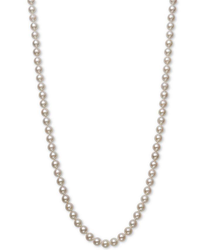 "Belle de Mer - Cultured Akoya Pearl (6-6-1/2mm) 18"" Strand Necklace in 14k Gold"