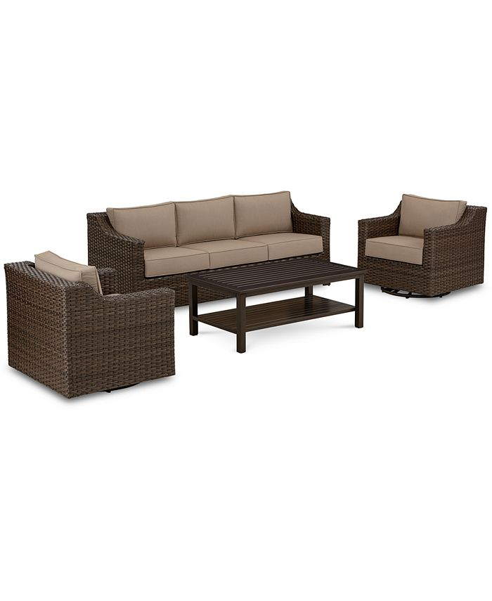 Furniture - Camden Outdoor Aluminum 4-Pc. Seating Set (1 Sofa, 2 Swivel Chairs & 1 Coffee Table)