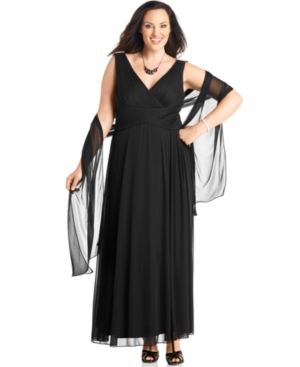 Alex Evenings Plus Size Dress and Shawl, Sleeveless Pleated Evening Gown