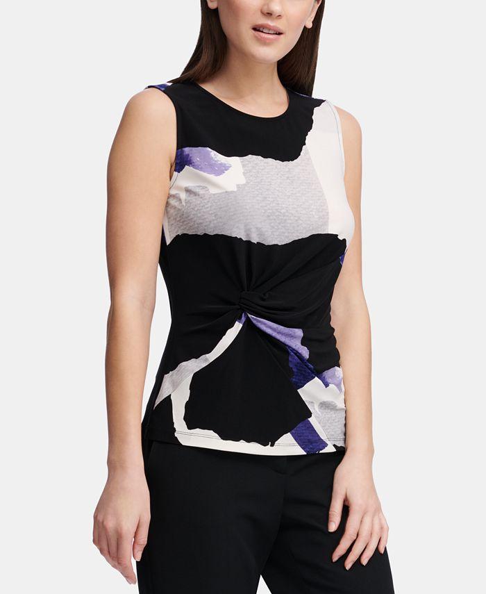 DKNY - Sleeveless Side-Knot Knit Top