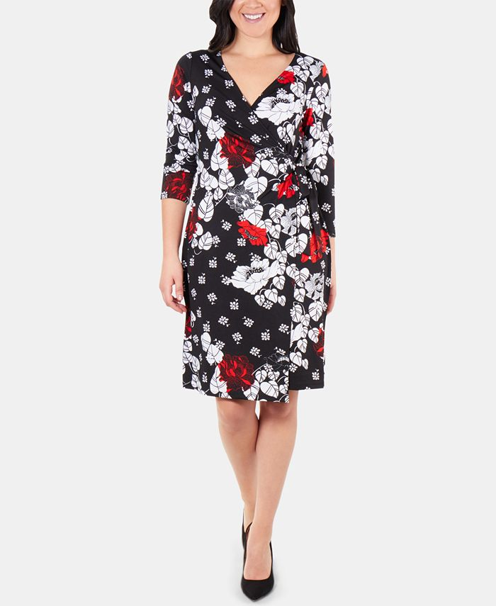 NY Collection - Patchwork 3/4-Sleeve Wrap Dress
