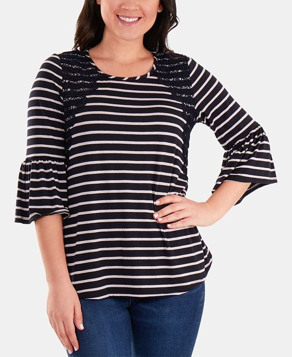 NY Collection Striped Bell-Sleeve Lace-Trim Top