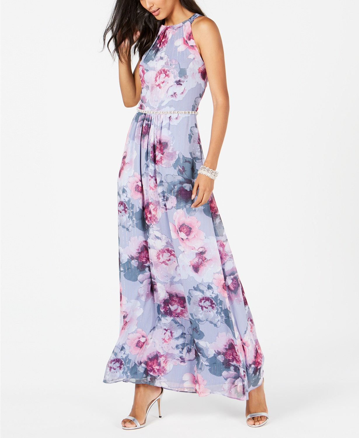 SL Fashions Women's Floral & Metallic Maxi Dress (Sky Blue)