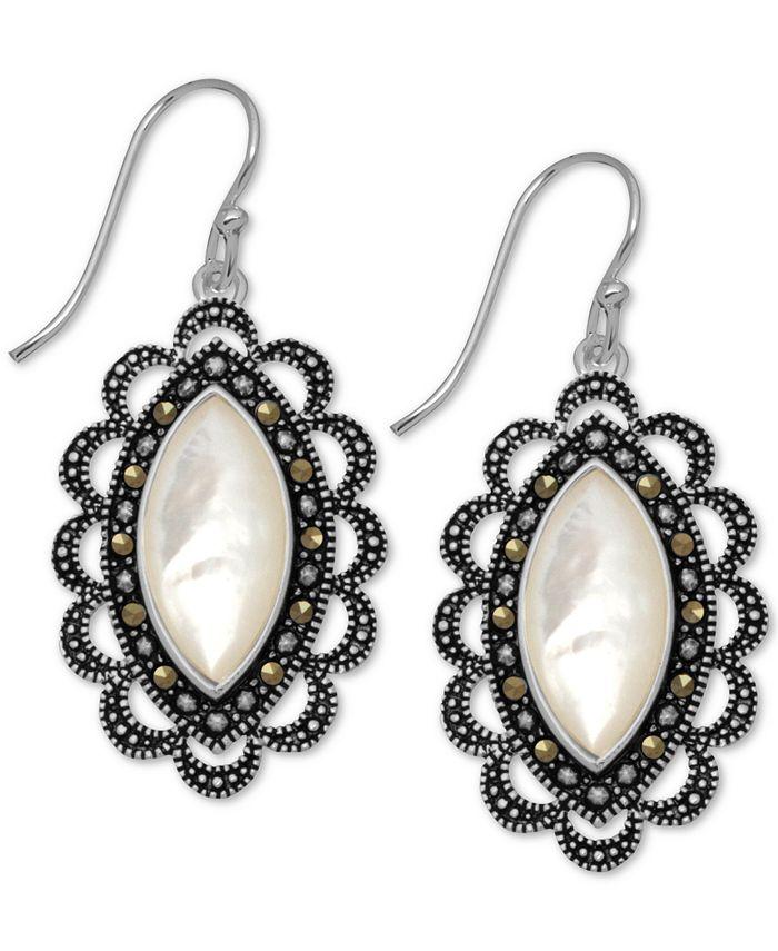 Macy's - Marcasite & Mother-of-Pearl Drop Earrings in Fine Silver-Plate
