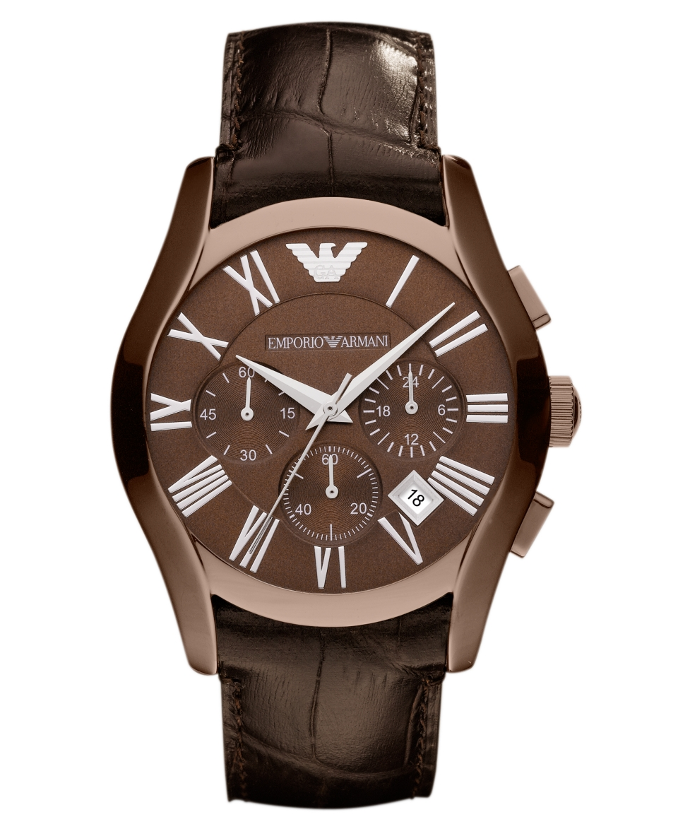 Emporio Armani Watch, Mens Chronograph Brown Croco Leather Strap 42mm