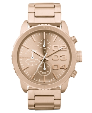 Diesel Watch, Chronograph Rose Gold Tone Stainless Steel Bracelet 46x42mm DZ5318