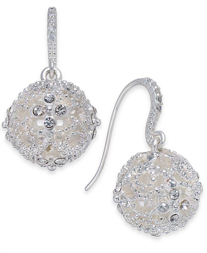 Charter Club - Silver-Tone Crystal Filigree Ball Drop Earrings