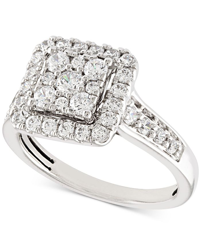 Macy's - Diamond Square Halo Cluster Engagement Ring (1 ct. t.w.) in 14k White Gold