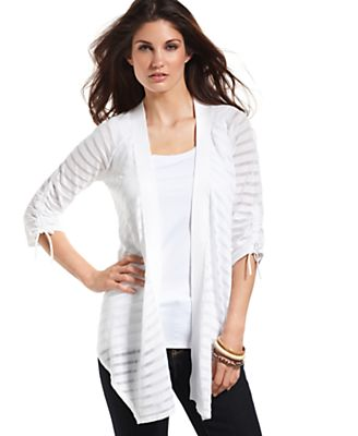 Grace Elements Cardigan, Three-Quarter-Sleeve Striped Open-Front