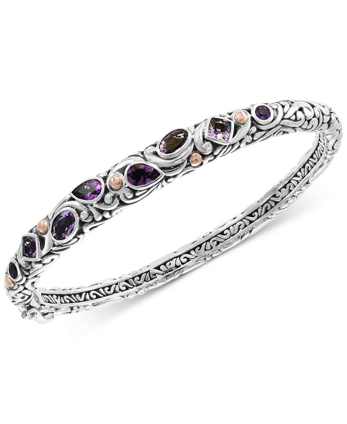 EFFY Collection - Amethyst (2-3/4 ct. t.w.) Bangle Bracelet in Sterling Silver & 18k Rose Gold-Plate