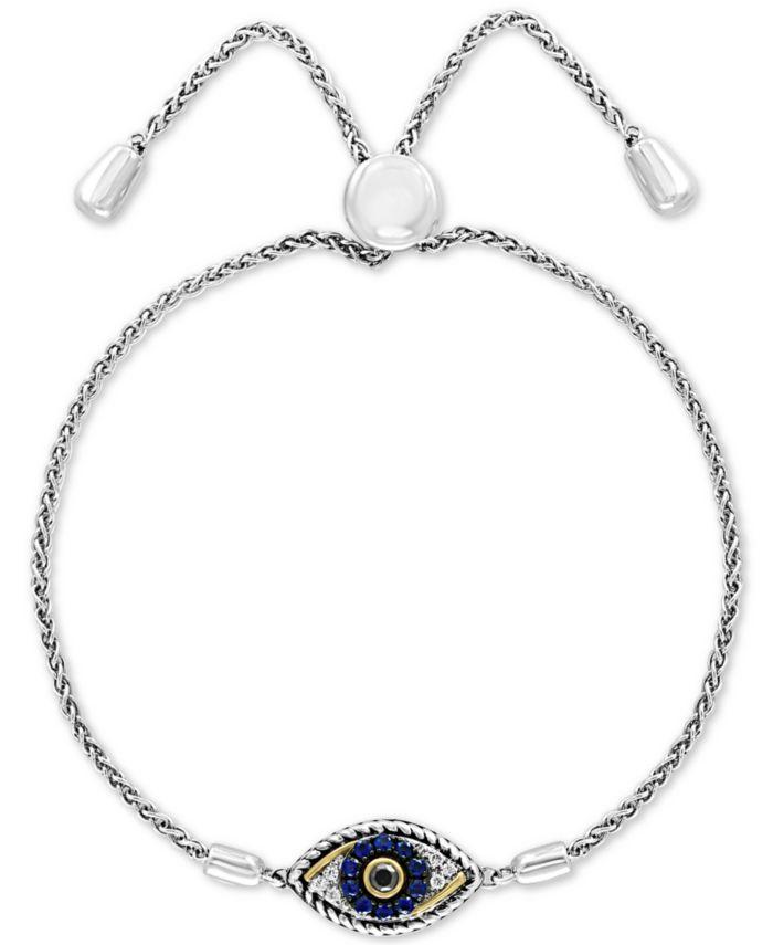 EFFY Collection EFFY® Sapphire (1/10 ct. t.w.) & Diamond (1/10 ct. t.w.) Evil Eye Bolo Bracelet in 14k Gold & Sterling Silver & Reviews - Bracelets - Jewelry & Watches - Macy's